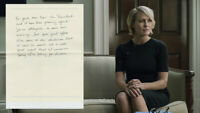 House of Cards Production Used Prop Ep 404 Claire's Note From Scene 11 (C)
