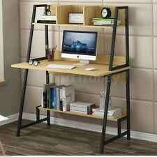 80cm Wood Metal Frame Computer Desk Study Writing Table with Shelves Storage