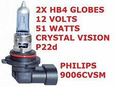 2x HB4 Globes 12 Volts 51 Watts Crystal Vision P22d Globe Base PHILIPS 9006CVSM