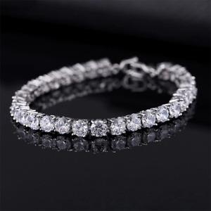 Luxury Women Men Silver Cubic Zirconia Bracelets Chain Crystal Wedding Jewelry