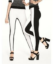HUE Leggings Sz XL Black White Colorblock Illusion Ponte Legging Casual U16439