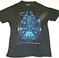 Vintage Official Star Wars Millennium Falcon T Shirt Blueprint Schematic XL
