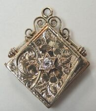Art Deco Vintage European Diamond 14K Yellow Gold Locket Engraved JL 1.43 x 1.19
