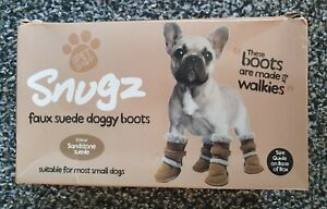 Snugz Sandstone Faux Suede Doggy Dog Boots For Small Dogs NEW Bnib