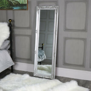 tall ornate silver wall/leaner mirror slim wall mounted mirror hallway beveled