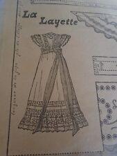 """PATRON ORIGINAL POUR LA POUPEE BLEUETTE """"ROBE DE BAPTEME  JUIN 1908"""