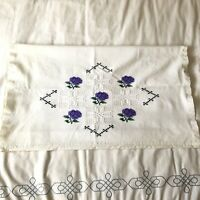EMBROIDERED Purple Flower WHITE Cross-stitch Pillowcase Pillow Cover Vintage