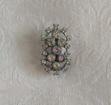 Vintage Antique 21 Clear Rhinestone Pin Brooch – Sparkly – Horizontal Vertical