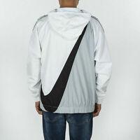 Nike Mens Swoosh Pull Over Hoodie Half Zip White Black Gray Jacket CV9167 100