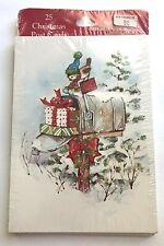 Pkg 25 Vintage Christmas Postcards ~ Unopened ~ Bird w/Scarf & Hat  on Mailbox