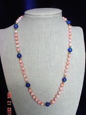 """Genuine 18"""" Light Pink Coral-Blue Lapis Necklace, 14kt Gold Clasp--#COLP18"""