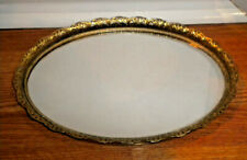 Vtg Vanity Mirror Perfume Tray Gold-tone Oval Filigree Metal Bathroom Decor