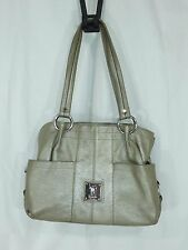 Tignanello Large Metallic Silver~Pebble Leather~Double Handle Zipper Shoulderbag