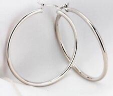 Silver Medium Hoop Earrings 3.8CM Bridesmaid Women Girl Gift Jewellery FREE BOX