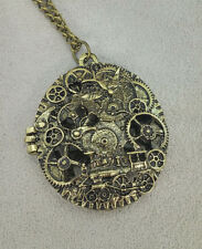 Vintage Looking Steampunk Gear Design Locket Necklace  - Free Shipping!