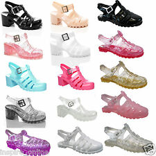 GIRLS KIDS CHUNKY BLOCK HEEL JELLY SANDALS SUMMER BEACH RETRO SHOES STRAPPY