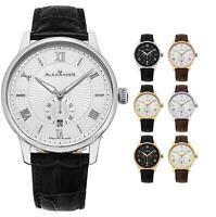 Alexander Swiss Made Men's 42mm Designer Watch Sapphire Crystal Leather Strap