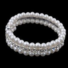 Unique Woman's  2 Rows White Faux Pearls Rhinestone Stretch Bangle Bracelet Sale