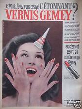 PUBLICITÉ 1960 GEMEY ROUGE ET VERNIS L'AVEZ-VOUS ESSAYÉ - ADVERTISING