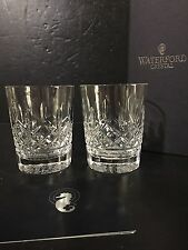 SET 2 Waterford Crystal Lismore Double Old Fashioned Glass Tumblers in Box pair