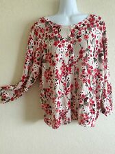 Joseph A. Pullover Sweater Cardigan Tunic Top Blouse Floral XL X-Large #N0417