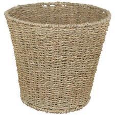 JVL Natural Round Seagrass Collection 28x25cm Waste Paper Basket Bin 15-904