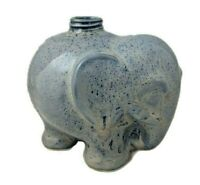 "Elephant Small Decanter / Bottle - Blue Speckled Pottery - 6"" Long x 4.5"" Tall"