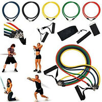 11 pcs Latex Elastic Resistance Band Pilates Tube Pull Rope Gym Yoga Fitness Yog