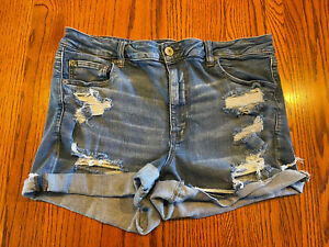 AMERICAN EAGLE Destroyed HI-RISE SHORTIE NEXT LEVEL STRETCH JEAN SHORTS SIZE 18