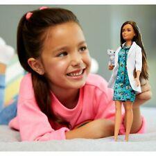Barbie® Pet Vet Doll, Brunette,Wearing Career Pet-print Dress with kitty patient
