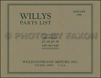 Willys Overland Parts Book 1937 1938 1939 1940 1941 1942 Americar 440 441 442