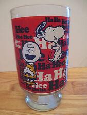 """Peanuts Snoopy Woodstock Charlie Brown Lucy Linus Sally Ha Ha Hee Hee 6"""" Glass"""
