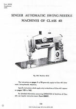 Singer Swing Needle Class 401 401A Sewing Machine Service Repair Manual