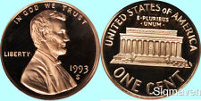1993 S Lincoln Cent Deep Cameo Gem Proof No Reserve
