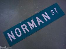 "Vintage ORIGINAL NORMAN ST STREET SIGN WHITE ON GREEN BACKGROUND 36"" X 9"""
