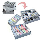 3Pcs Sock Bra Underwear Closet Drawer Organizer Storage Box Bamboo Charcoal Set