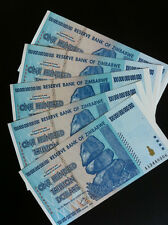 ZIMBABWE 100 TRILLION Banknote x5 Pieces Uncirculated AA/2008, FREE SHIPPING