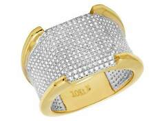 Men's 10K Yellow Gold Genuine Diamond Pave Eternity Iced Wedding Ring 1.5CT 15MM