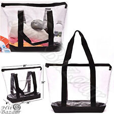 f0b7d3cfd5c9 CLEAR TOTE BAG Large Transparent Purse Strong Zippered Closure Shoulder  Straps