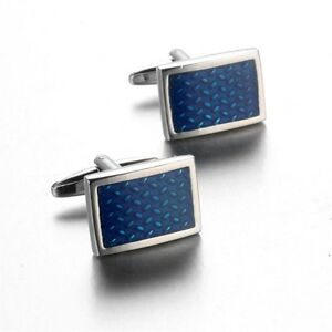 Classical Square Blue Crystal Cuff Link Silver Plated Metal Mens Dress Cufflinks