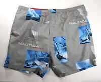 "VIntage Nautica Competition Mens Grey Swim Trunks Board Shorts  Inseam 6"" Size L"