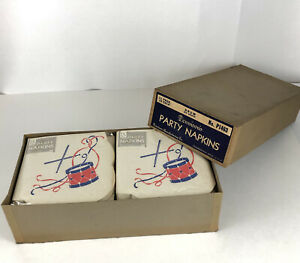 Vintage Dennison Paper Napkins Drum Die Shaped Box of 12 Sealed Pkgs of 18 USA