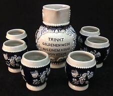 Trinkt Cobalt Blue And Gray German Pitcher w/ 6 Cups - No Chips