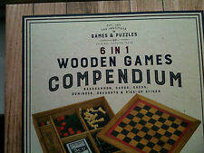 GAMES COMPENDIUM Professor Puzzle 6 in 1 Wooden Chess Draughts Backgammon NEW