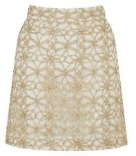 OASIS Gold Metallic Lace Mini Skirt size 12 - Brand New