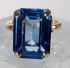 Vintage Emerald Cut Blue Topaz Cocktail Ring Size 7.75