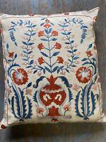 Wonderful Old Handmade Vintage Uzbek Suzani Silk Embroidery Cushion 1.8x1.8 Ft