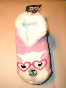 Women's Pink Llama Faux Fur Lined Bootie Slippers-5.5-7.5