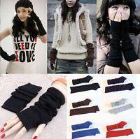 Womens Girls Knitted Long Fingerless Gloves Half Finger Arm Hand Stretch Mittens