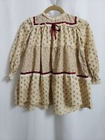 VTG 1980s Little Star L/S Beige Lace Party Dress size 5 Girls   USA